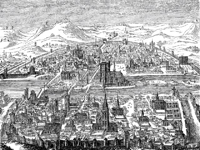 Perspective view of Paris in 1607 from a copperplate by Leonard Gaultier; Wikimedia commons